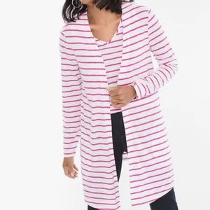 CHICO'S Foiled Tee Shirt Striped Tank Cardigan Set
